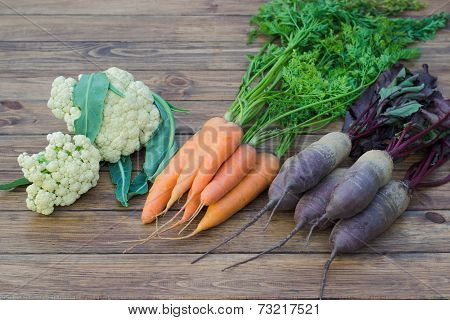 Cauliflower, Beets And Carrots,