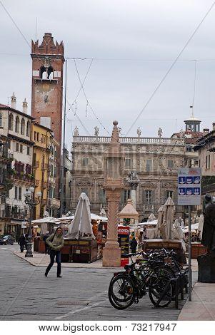 Piazza Delle Erbe In Verona, Italy.