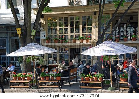 People Sitting In Beautiful Outdoor Cafe, Odessa