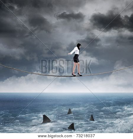 Business Risk With Woman On The Rope