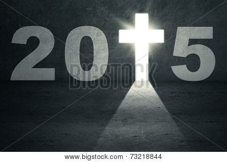 Door Shaped Cross With Number 2015