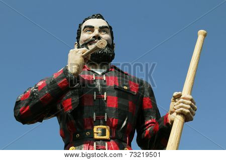 BANGOR, MAINE , USA - AUGUST 27 2014: Statue of Paul Bunyan the giant lumberjack on august 27 in Bangor, USA