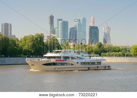 Moscow River, Pleasure Boat And Moscow City