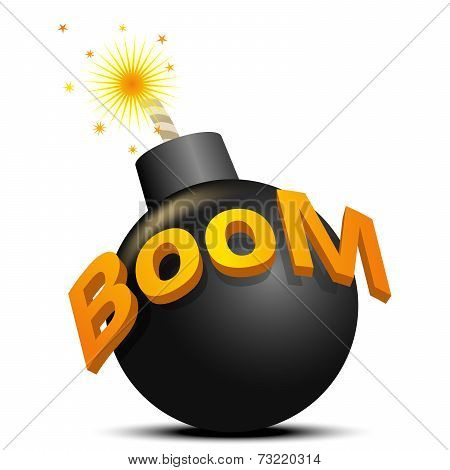 Black bomb ready to explode. The illustration on white background.