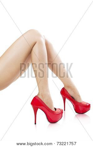 Smooth Female Legs Wearing High Heels
