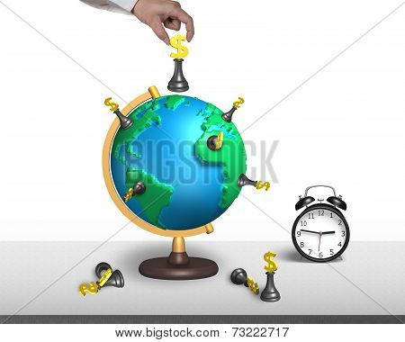 Hand Hold Dollar Chess On 3D Map Globe With Clock