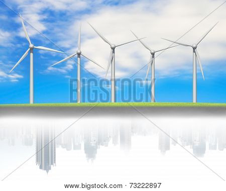 Windturbines In A Line With City Buildings Reflection