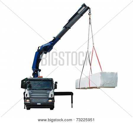 Truck Delivering Wood Package - Isolated