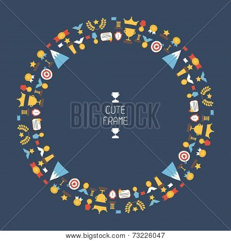 Frame of flat colorful award icons. Vector colorful set of prizes and trophy signs. Design elements.