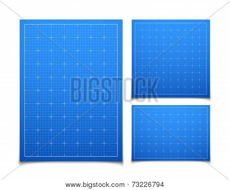 Blue isolated square grid set with shadow