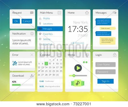 Mobile flat interface elements with colorful wallpaper, design for applications