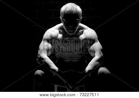 Muscular Man In Black White