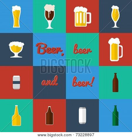 Flat set of beer glass and bottles icons