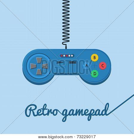 Retro gamepad in flat style