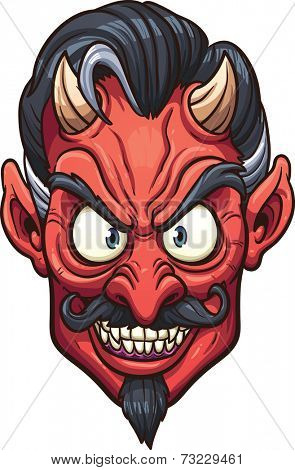 Evil devil face. Vector clip art illustration with simple gradients. All in a single layer.