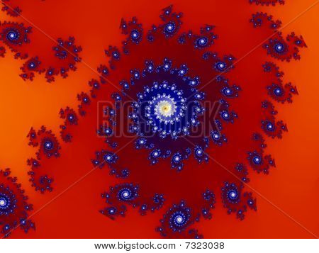 Intricate Red-blue Fractal Design Based On Julia Set