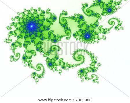 Intricate Green-blue Fractal Design Based On Julia Set