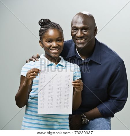 African father and daughter with homework