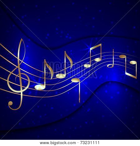 Vector abstract blue musical background with golden notes stave and treble clef