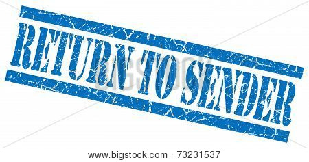 Return To Sender Blue Square Grunge Textured Isolated Stamp