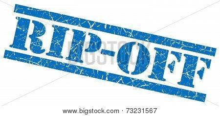 Rip-off Blue Square Grunge Textured Isolated Stamp