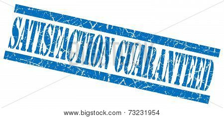 Satisfaction Guaranteed Blue Square Grunge Textured Isolated Stamp