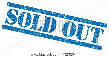 Sold Out Blue Square Grunge Textured Isolated Stamp
