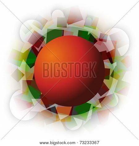 Abstract Autumn Squares With Sphere In The Middle