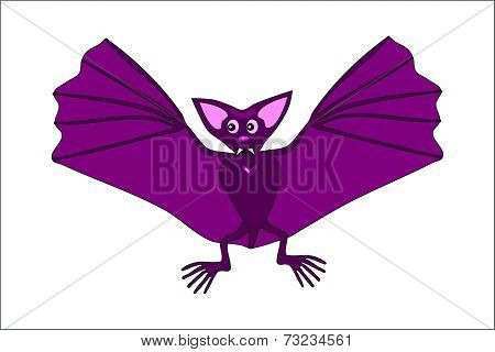 Cute violet flying bat spreads its wings