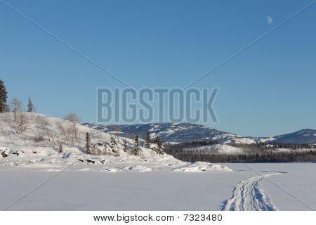 Skidoo Track On Frozen Lake