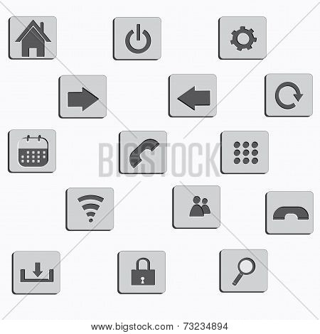 mobile and system interface icons and buttons