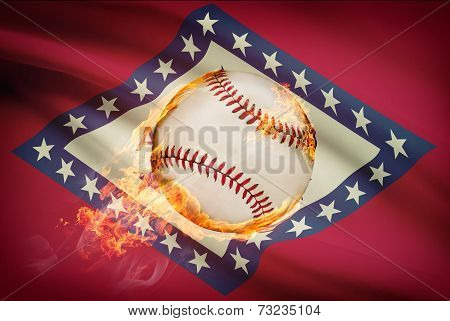 Baseball Ball With Flag On Background Series - Arkansas