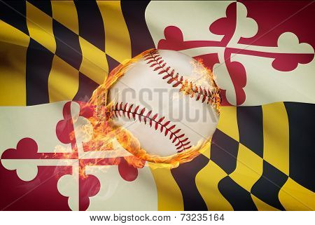 Baseball Ball With Flag On Background Series - Maryland