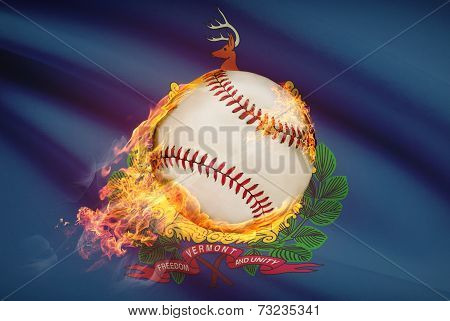 Baseball Ball With Flag On Background Series - Vermont