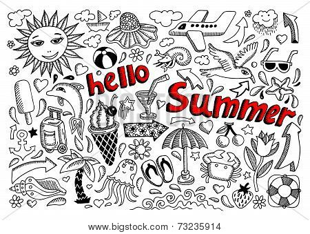 set of sketch design element summer theme with lettering Hello S