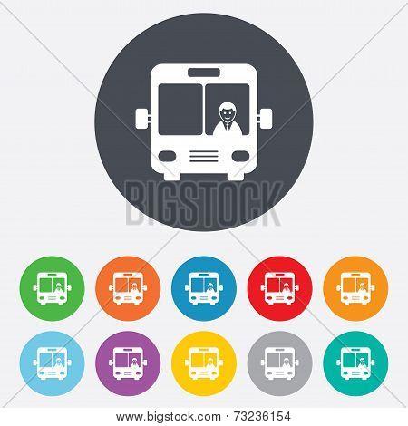 Bus sign icon. Public transport symbol.