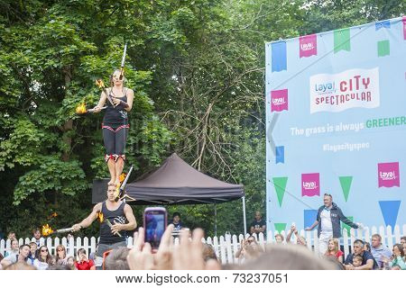 Dublin, Ireland - July 13: Fire Acrobats Juggling In The Laya Healthcate City Spectacular Festival