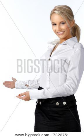 Businesswoman With Her Arm Out In A Welcoming Gesture, Isolated On White Background