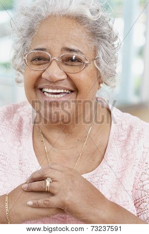 Senior African American woman wearing eyeglasses