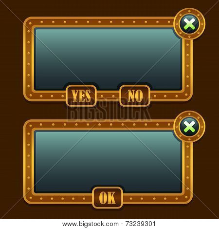 Game steampunk menu interface panels