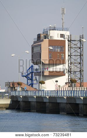 Gabcikovo, Slovakia - November 01, 2013: Control Tower Of The Gabcikovo Dams On Danube River