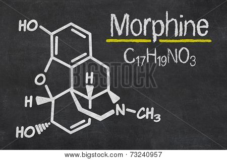Blackboard with the chemical formula of Morphine