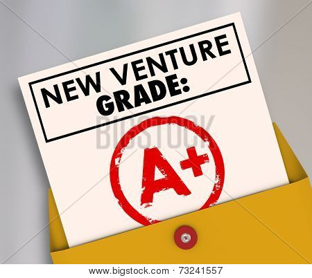 New Venture Grade words on a report card and A Plus stamped to illustrate a great score or rating on your just launched business