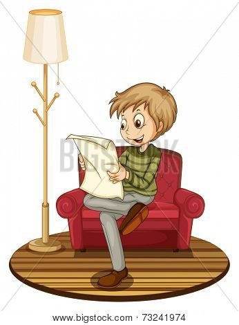 Illustration of a boy reading a newspaper on a sofa
