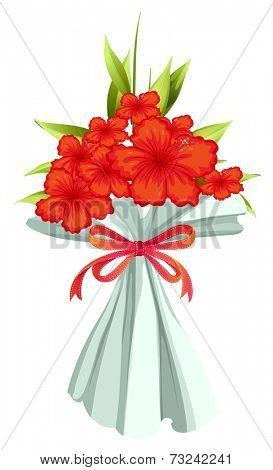 Illustration of a boquet of red flowers on a white background