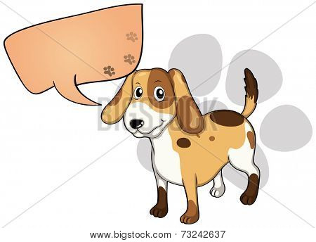 Illustration of a puppy with an empty rectangular callout on a white background