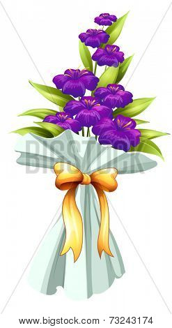 Illustration of a boquet of fresh violet flowers on a white background