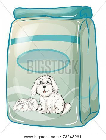Illustration of a pack of dogfood on a white background