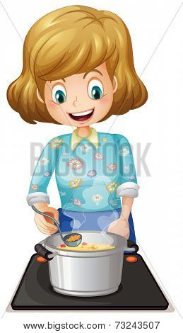 Illustration of a happy mother cooking on a white background