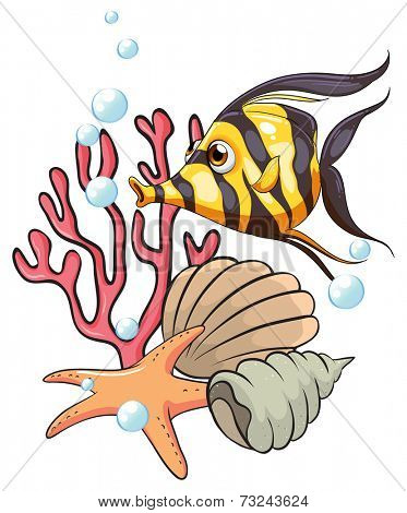 Illustration of a stripe-colored fish under the sea on a white background